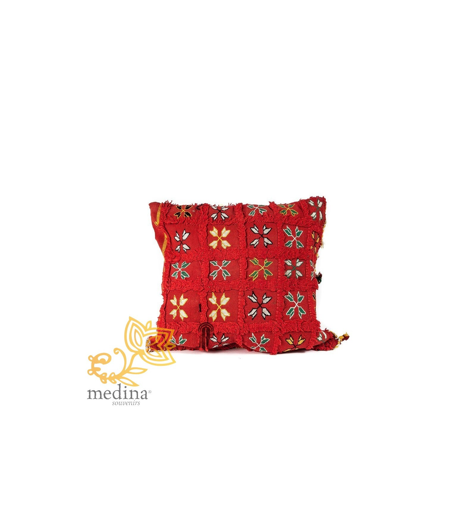 coussin vintage carr rouge tiss la main motifs brod s moroccan pouffe. Black Bedroom Furniture Sets. Home Design Ideas