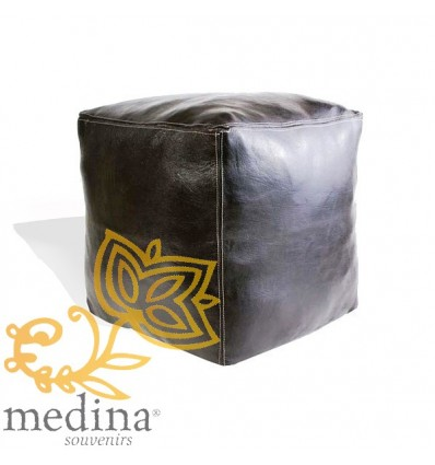 Moroccan Black Moroccan square pouffe_ Pouf Leather Ottoman Poof Pouffe pouffes hassock Footstool Beanbag leather pillow