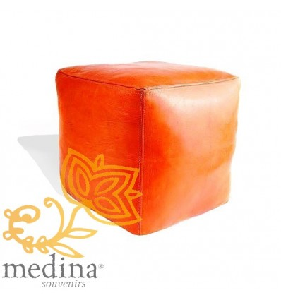 Moroccan Orange Moroccan square pouffe_ Pouf Leather Ottoman Poof Pouffe pouffes hassock Footstool Beanbag leather pillow