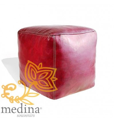 Moroccan Burgundy Moroccan square pouffe_ Pouf Leather Ottoman Poof Pouffe pouffes hassock Footstool Beanbag leather pillow