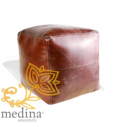 Moroccan Tan-coloured Moroccan square pouffe_ Pouf Leather Ottoman Poof Pouffe pouffes hassock Footstool Beanbag leather pillow