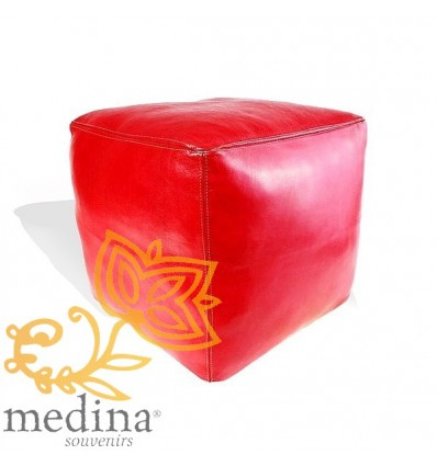 Moroccan Red Moroccan square pouffe_ Pouf Leather Ottoman Poof Pouffe pouffes hassock Footstool Beanbag leather pillow