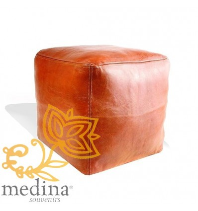 Moroccan Tobacco-coloured Moroccan square pouffe_Pouf Leather Ottoman Poof pouffes hassock Footstool Beanbag leather pillow