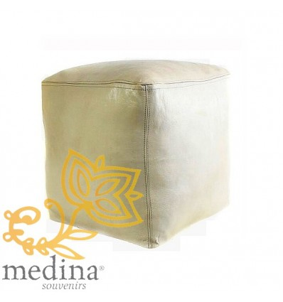 Moroccan White Moroccan square pouffe_ Pouf Leather Ottoman Poof Pouffe pouffes hassock Footstool Beanbag leather pillow