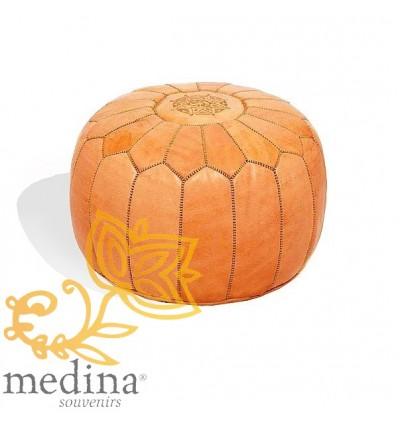Moroccan Leather Pouffe Moroccan design natural color_ Pouf Leather Ottoman Poof hassock Footstool Beanbag leather pillow