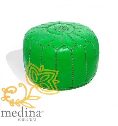 Moroccan Florescent green leather pouffe Moroccan design_ Pouf Leather Ottoman Poof hassock Footstool Beanbag leather pillow