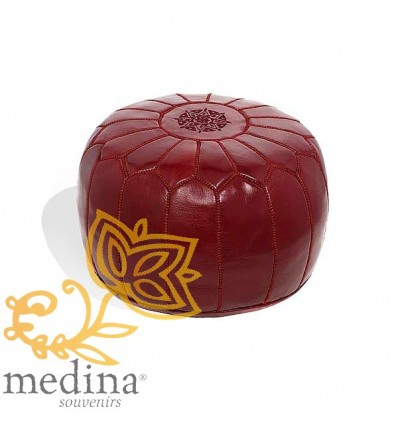Moroccan Burgundy leather pouffe Moroccan design_ Pouf Leather Ottoman Poof hassock Footstool Beanbag leather pillow
