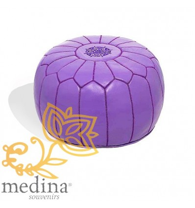 Moroccan Lavender leather pouffe Moroccan design_ Pouf Leather Ottoman Poof Pouffe hassock Footstool Beanbag leather pillow