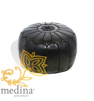 Moroccan Black leather pouffe Moroccan design_ Pouf Leather Ottoman Poof Pouffe pouffes hassock Footstool Beanbag leather pillow