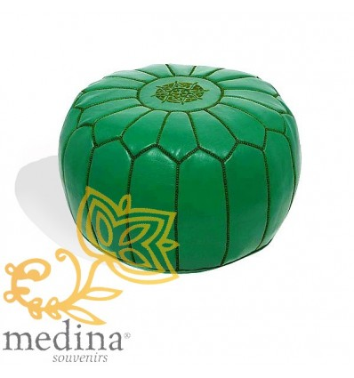 Moroccan Green leather pouffe Moroccan design_ Pouf Leather Ottoman Poof Pouffe pouffes hassock Footstool Beanbag leather pillow