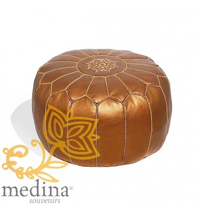 Moroccan Copper colored leather pouffe Moroccan design_ Pouf Leather Ottoman Poof hassock Footstool Beanbag leather pillow