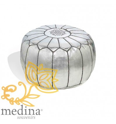 Moroccan Silver leather pouffe Moroccan design_ Pouf Leather Ottoman Poof Pouffe hassock Footstool Beanbag leather pillow