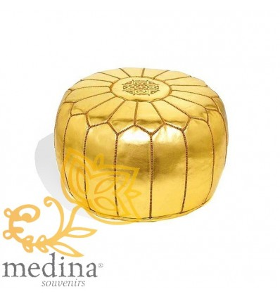 Moroccan Gold leather pouffe Moroccan design_ Pouf Leather Ottoman Poof Pouffe pouffes hassock Footstool Beanbag leather pillow