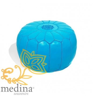 MoroccanTurquoise leather pouffe Moroccan design_ Pouf Leather Ottoman Poof Pouffes hassock Footstool Beanbag leather pillow