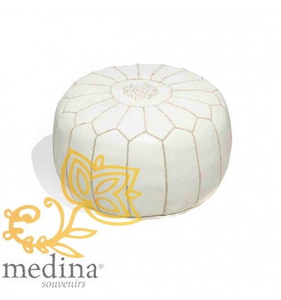 Moroccan White leather pouffe Moroccan design_ Pouf Leather Ottoman Poof Pouffe pouffes hassock Footstool Beanbag leather pillow