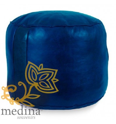 Moroccan Blue round moroccan pouffe_ Pouf Leather Ottoman Poof Pouffe pouffes hassock Footstool Beanbag leather pillow