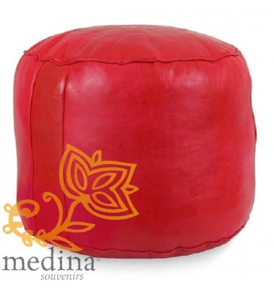 Moroccan Red moroccan round pouffe_ Pouf Leather Ottoman Poof Pouffe pouffes hassock Footstool Beanbag leather pillow