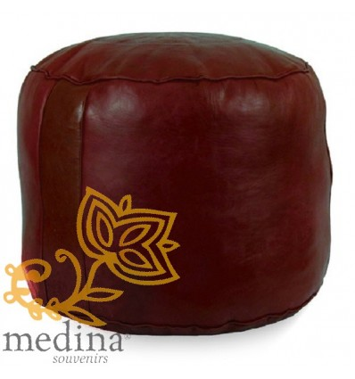 MoroccanBurgundy moroccan round pouffe_ Pouf Leather Ottoman Poof Pouffe pouffes hassock Footstool Beanbag leather pillow