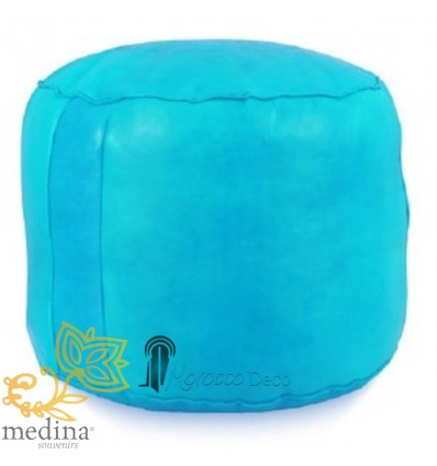 MoroccanTurquoise round moroccan pouffe_ Pouf Leather Ottoman Poof Pouffe pouffes hassock Footstool Beanbag leather pillow