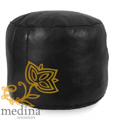 Moroccan Black round moroccan pouffe_ Pouf Leather Ottoman Poof Pouffe pouffes hassock Footstool Beanbag leather pillow