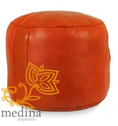 Moroccan Round moroccan pouffe in orange_ Pouf Leather Ottoman Poof Pouffe pouffes hassock Footstool Beanbag leather pillow