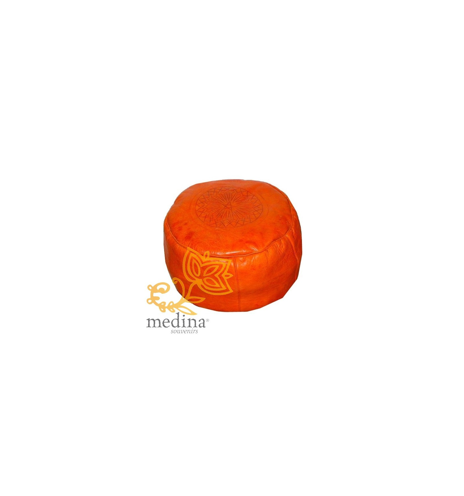 Buy The Best Leather Moroccan Ottomans Online Orange