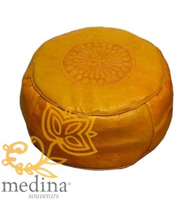 Moroccan Yellow moroccan round pouffe_ Pouf Leather Ottoman Poof Pouffe pouffes hassock Footstool Beanbag leather pillow