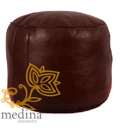 Moroccan Chocolate moroccan round pouffe_ Pouf Leather Ottoman Poof Pouffe pouffes hassock Footstool Beanbag leather pillow