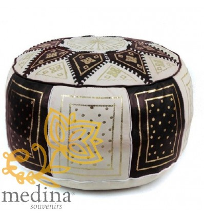 Moroccan Black and white leather Fassi pouffe_ Pouf Leather Ottoman Poof Pouffe pouffes hassock Footstool Beanbag leather pillow