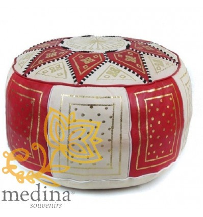 Moroccan Red and white leather Fassi pouffe_ Pouf Leather Ottoman Poof Pouffe pouffes hassock Footstool Beanbag leather pillow