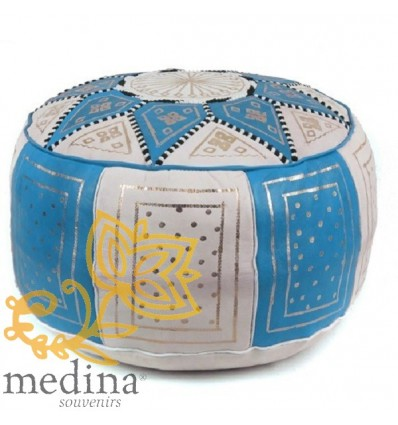 Moroccan White and turquoise leather Fassi pouffe_ Pouf Leather Ottoman Poof pouffes hassock Footstool Beanbag leather pillow