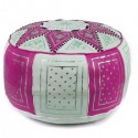 Moroccan White and fuchsia leather Fassi pouffe_ Pouf Leather Ottoman Poof pouffes hassock Footstool Beanbag leather pillow