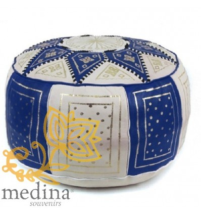 Moroccan Blue and white leather Fassi pouffe_ Pouf Leather Ottoman Poof Pouffe pouffes hassock Footstool Beanbag leather pillow