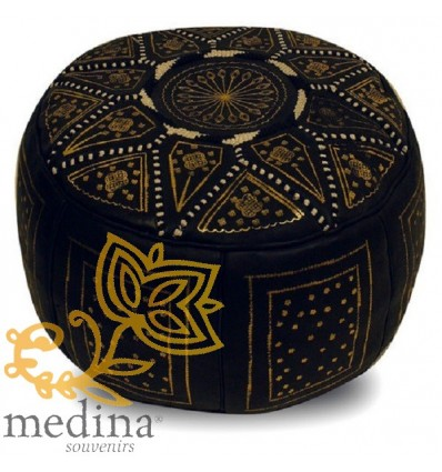 Moroccan Gold and black leather Fassi pouffe_ Pouf Leather Ottoman Poof Pouffe pouffes hassock Footstool Beanbag leather pillow