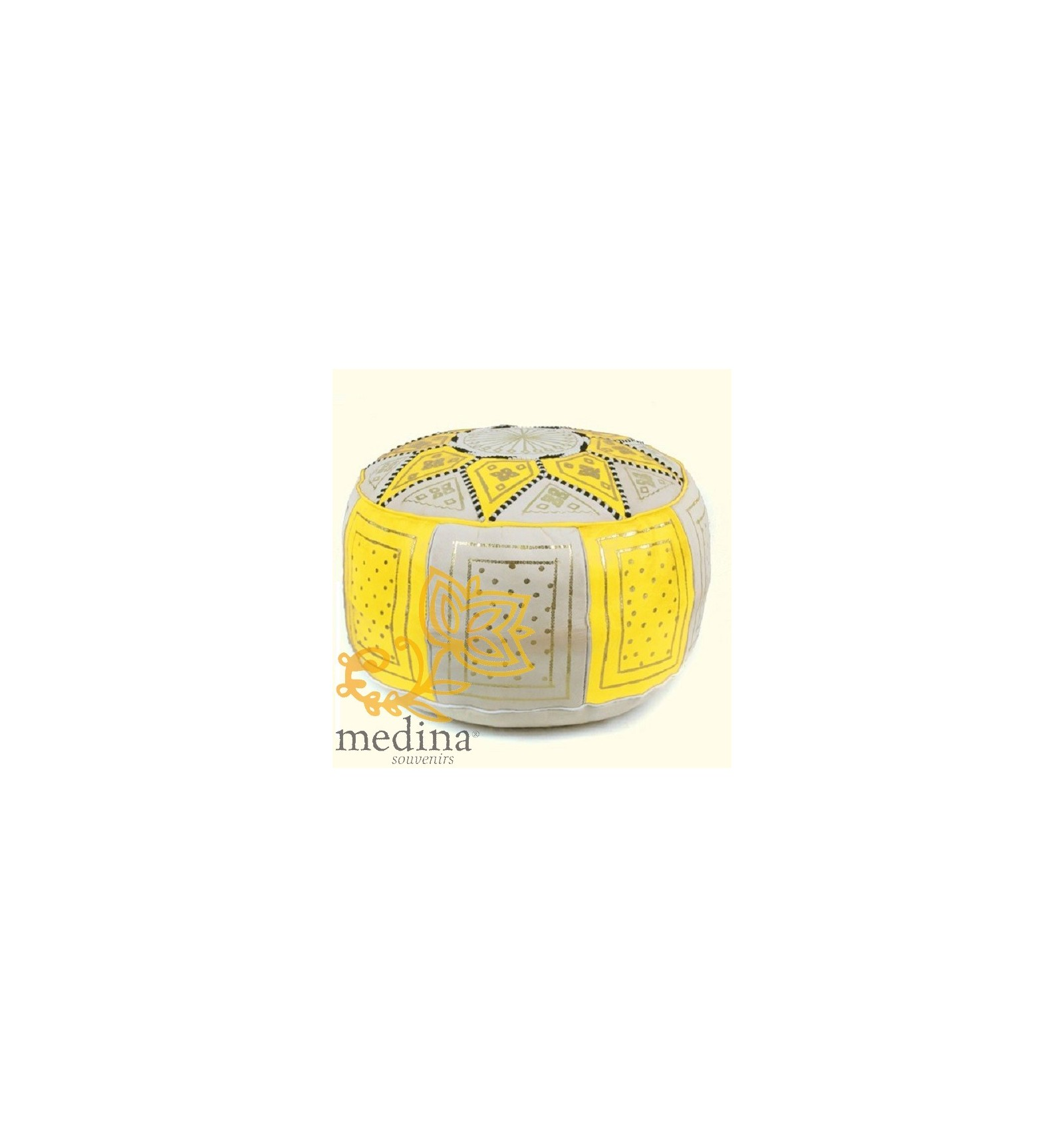 Buy Elegant Leather Fassi Ottomans Online Yellow And