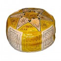Moroccan Yellow and white leather Fassi pouffe_ Pouf Leather Ottoman Poof pouffes hassock Footstool Beanbag leather pillow