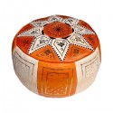 Moroccan White and orange leather Fassi pouffe_ Pouf Leather Ottoman Poof pouffes hassock Footstool Beanbag leather pillow