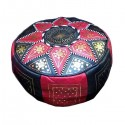 Moroccan Black and red leather Fassi pouffe_ Pouf Leather Ottoman Poof Pouffe pouffes hassock Footstool Beanbag leather pillow