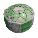 Moroccan Apple-green leather Fassi pouffe_ Pouf Leather Ottoman Poof Pouffe pouffes hassock Footstool Beanbag leather pillow