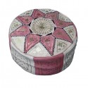 Moroccan White and pink leather Fassi pouffe_ Pouf Leather Ottoman Poof Pouffe pouffes hassock Footstool Beanbag leather pillow