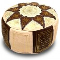 Ivory and chocolate leather Fassi pouffe_ hand made leather moroccan pouf foot stool