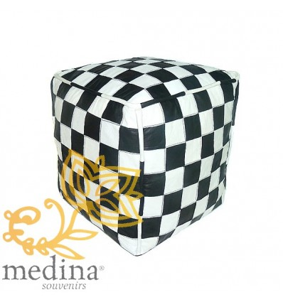 Black and white leather pouffe in square design_ hand made leather moroccan pouf foot stool