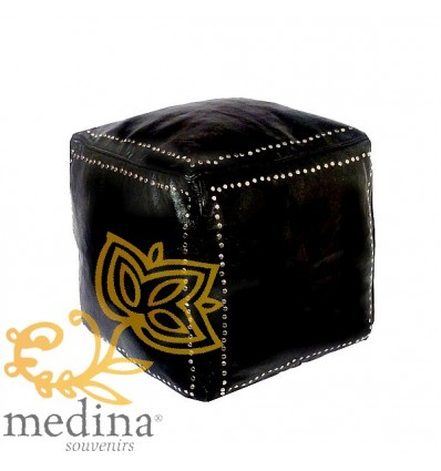 Black square leather pouffe with silver buttons_ hand made leather moroccan pouf foot stool