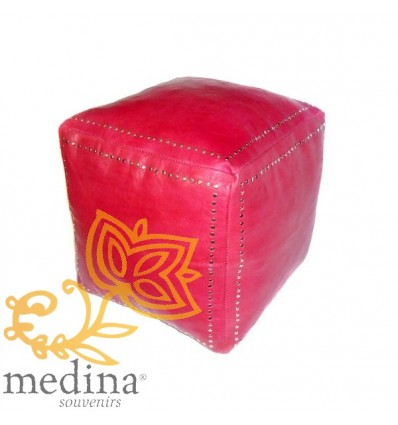 Red square leather pouffe with silver buttons_ hand made leather moroccan pouf foot stool