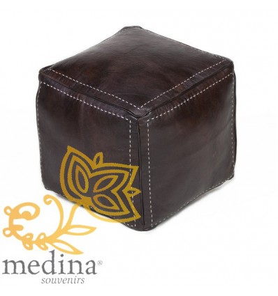 Chocolate-brown square stitched-leather pouffe_ hand made leather moroccan pouf foot stool