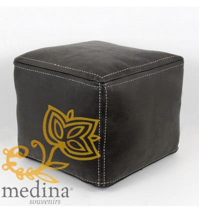 Moroccan black square stitched-leather pouffe_ Pouf Leather Ottoman Poof hassock Footstool Beanbag leather pillow