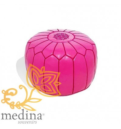 Pink leather pouffe Moroccan design_ Handmade genuine leather pouf