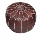 Brown leather pouffe Moroccan design_ Handmade genuine leather pouf