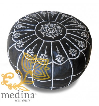 Black and white leather pouffe Moroccan arch design_ Pouf Leather Ottoman Poof pouffes hassock Footstool Beanbag leather pillow