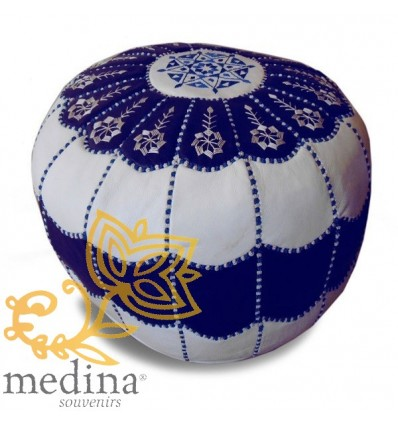 Moroccan Pouf Leather Ottoman Poof pouffes hassock Footstool leather pillow_ White and blue leather pouffe Moroccan arch design-